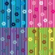 Set of striped background with flowers — Stock Photo