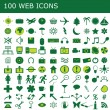 Stock Photo: Set of 100 green web icons