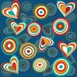 Retro blue pattern with abstract hearts and circles — Stockfoto #3434573