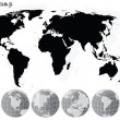 Stock Photo: Grey world map and earth globes