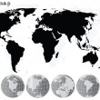 Grey world map and earth globes — Stock Photo #3444700