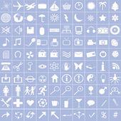 Witte pictogrammen op blauwe achtergrond — Stockfoto