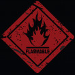 Stock Photo: Flammable Fire Hazard warning symbol