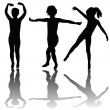 Black children silhouettes with shadows — Stock Photo