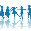 Happy children blue silhouettes — Stock Photo