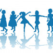 Stock Photo: Happy children blue silhouettes