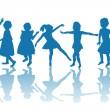 Happy children blue silhouettes — Stock Photo