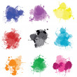 Set of colored splashes - Stock Photo