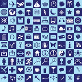 Set of blue squares with icons — Foto Stock