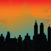 Fond avec des gratte-ciels et sunrise — Photo