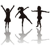 Three little girls silhouettes — Stock Photo