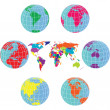 Stock Photo: Set with Earth globes and world map in different colors