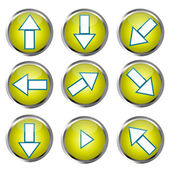 Yellow Buttons for web design, arrow icons set — Stock Photo