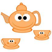 Orange teapot with cups — Stock Photo