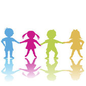 Happy children, colored silhouettes — Stock Photo