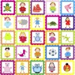 Stock Photo: Baby background with various toys, for kindergarten