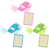 Set of colored birds with tags — Stock Photo