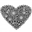 Grey heart with grey elements — Stock Photo