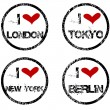 Stamps with I love big cities — Stock Photo