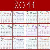 2011 kalender på sidor matte och röd bakgrund — ストック写真