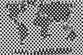 Gepunktete weltkarte in schwarz und weiß — Stockfoto