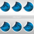 Blue stickers with discount — Stockfoto