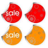 Turuncu ve kırmızı olarak dekore edilmiş etiketler — Stok fotoğraf
