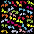 Seamless with pairs of colored hands - Stock Photo
