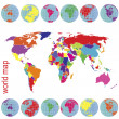 Photo: Colored world map and Earth globes