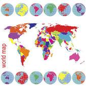 Renkli dünya haritası ve dünya küre — Stok fotoğraf
