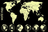 Yellow world map — Foto Stock