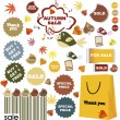 Autumn sale-set of stickers and labels - 图库照片