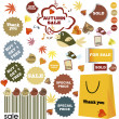 Autumn sale-set of stickers and labels - Foto Stock