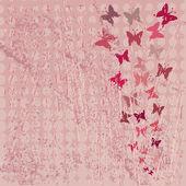 Fondo rojo grunge con mariposas — Foto de Stock