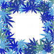 Frame with blue marijuana leaves — Stock Photo
