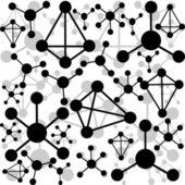 Black molecules on white background — Stockfoto
