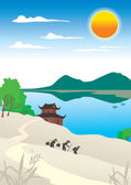 Chinese landscape with a pagoda — Stock Vector