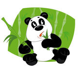 Panda eats leaves — Stock Vector