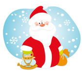 Santa with a lamp — Stock Vector