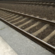 railway lines at a train station — Stock Photo