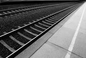 Railway lines at a train station disappe — Stock Photo