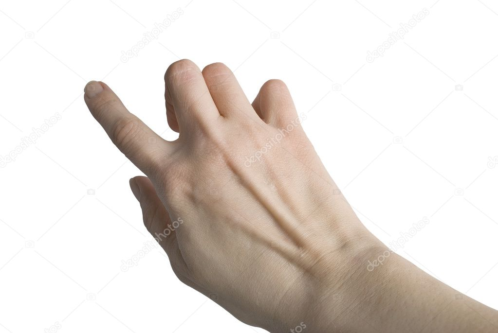 Hand touching screen isolated over white background  Stock Photo #2837866
