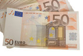 Close-ups of a fan of 50 Euro bank notes — Stock Photo