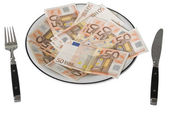 Fifty Euro Banknotes on a plate with for — Stock Photo