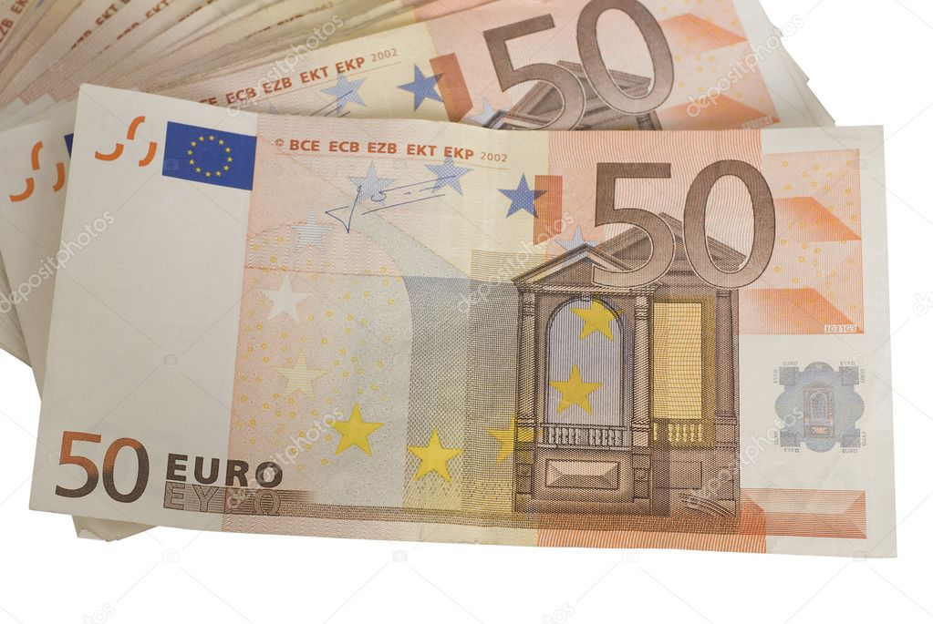 Close-ups of a fan of 50 Euro bank notes isolated over white background.  — Stock Photo #2840198