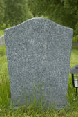 Blank tombstone stands in a cemetery. — 图库照片
