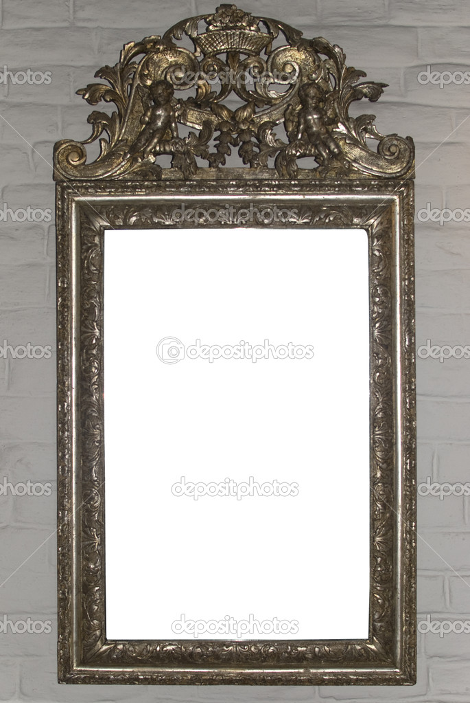 Big antique mirror frame on white wall.  — Stock Photo #3391498