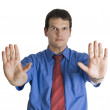 Businessman gesturing stop with palm of his hands. — Stock Photo #3452105