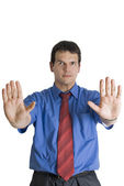 Businessman gesturing stop with palm of his hands. — Stock Photo