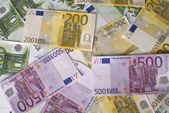 Close-up of 100, 200 and 500 Euro banknotes money. — Stock Photo